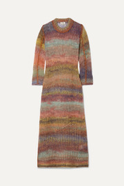 Acne Studios Striped open-knit midi dress