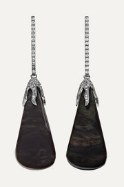 18-karat blackened white gold, velvet obsidian and diamond earrings