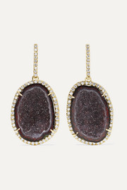 Kimberly McDonald 18-karat green gold, geode and diamond earrings