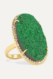 Kimberly McDonald 18-karat gold, uvarovite garnet and diamond ring