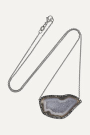 Kimberly McDonald 18-karat blackened white gold, geode and diamond necklace