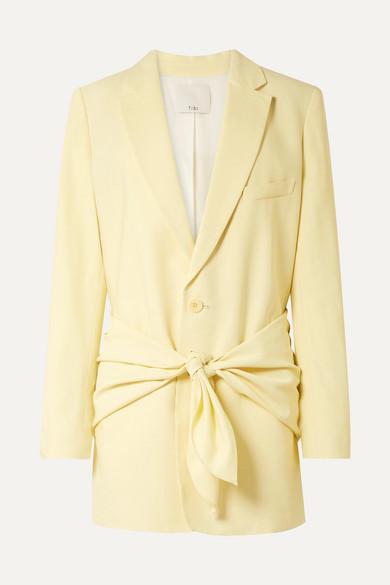 Tibi Stretch Viscose Suiting Oversized Tuxedo Blazer In Pastel Yellow