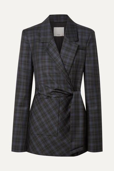 Tibi Blazers Marvel oversized checked wool-blend twill wrap blazer