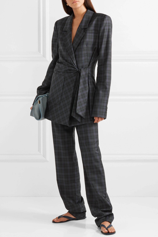 Tibi Marvel oversized checked wool-blend twill wrap blazer