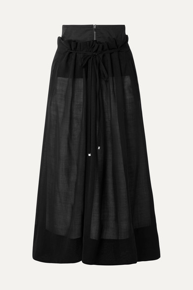 Tibi Skirts Layered wool-blend midi skirt