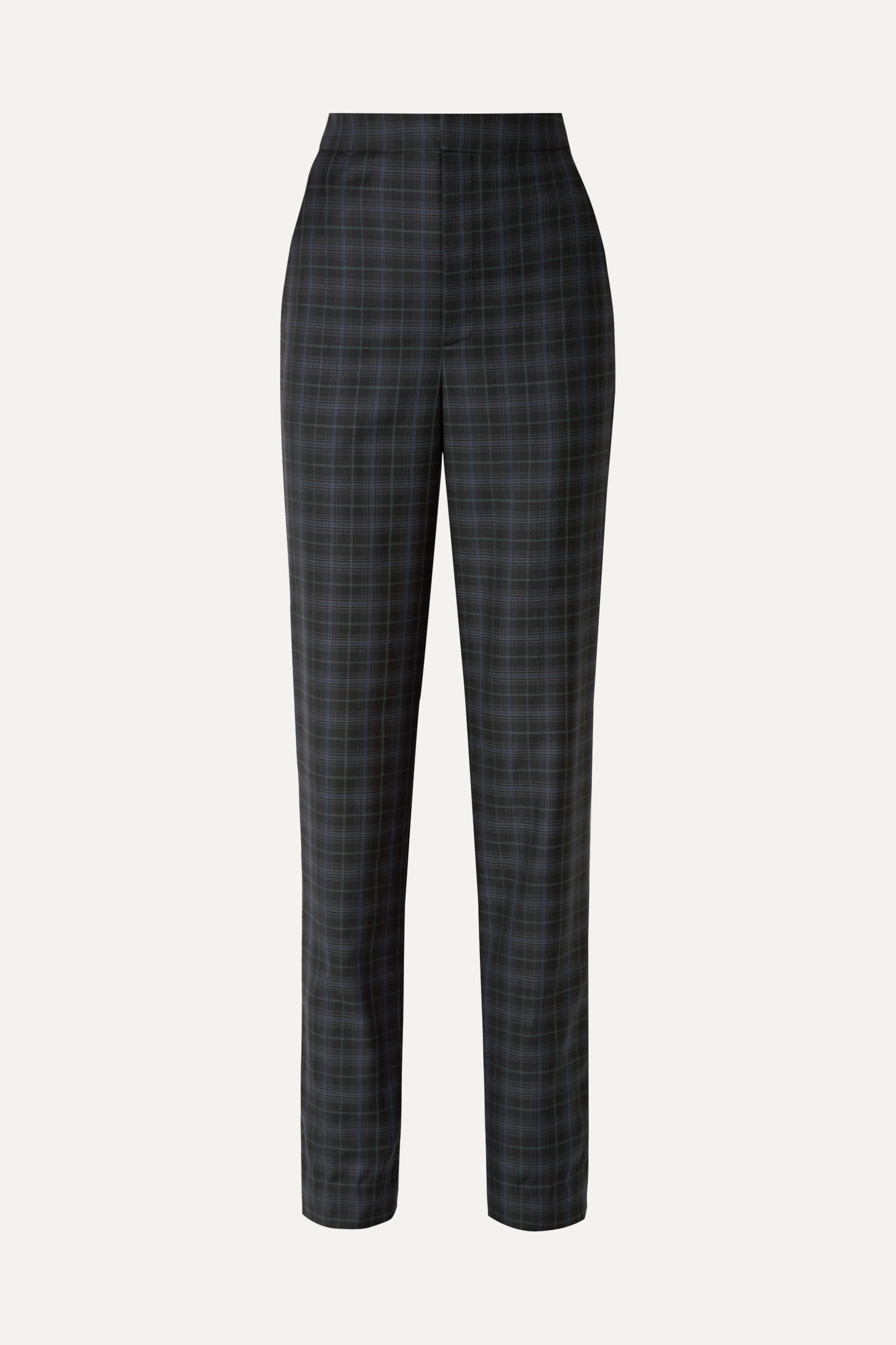 Tibi Sebastian checked wool-blend twill straight-leg pants