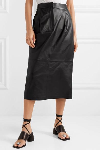 Tibi Skirts Leather midi skirt