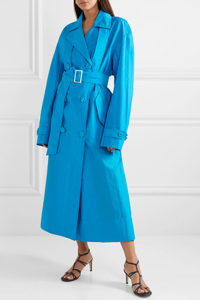 Tibi Coats Oversized double-breasted shell trench coat
