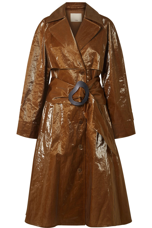 Crinkled-vinyl trench coat