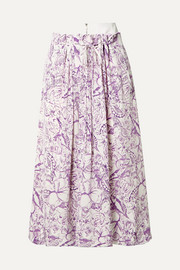 Isa denim-trimmed printed silk crepe de chine skirt