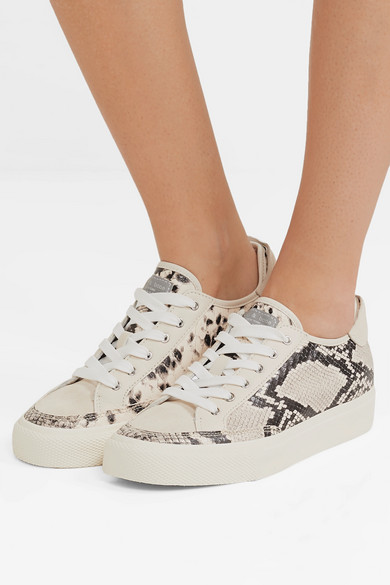 Army suede-trimmed snake-effect leather