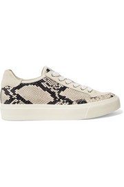 Army suede-trimmed snake-effect leather sneakers