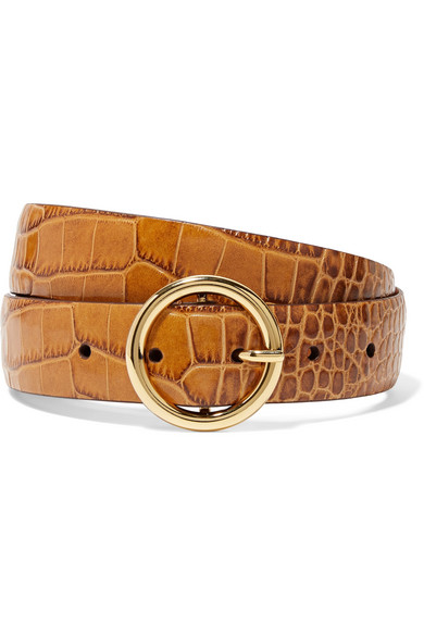 ANDERSON'S Croc-Effect Leather Belt in Tan