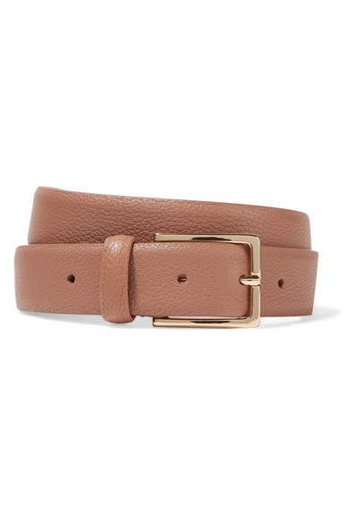 ANDERSONS Textured-Leather Belt in Tan