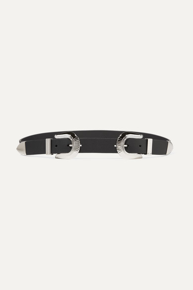 ANDERSON'S Textured-Leather Belt in Black