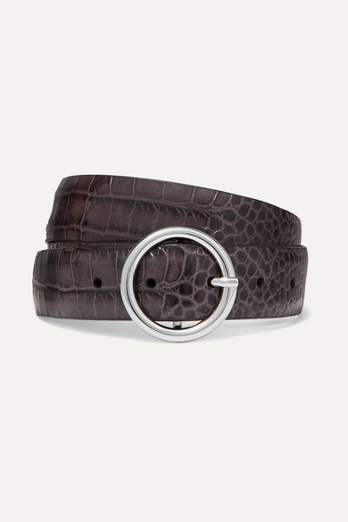 ANDERSON'S Croc-Effect Leather Belt in Light Gray