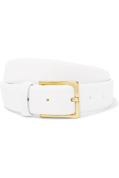 ANDERSON'S Textured-Leather Belt in White