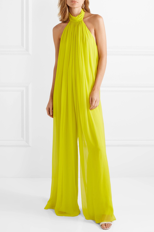 Cushnie Open-back silk-chiffon jumpsuit
