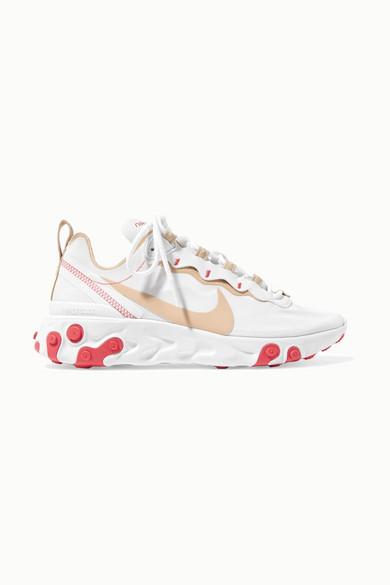 NIKE | Nike - React Element 55 Neoprene And Mesh Sneakers - White | Goxip