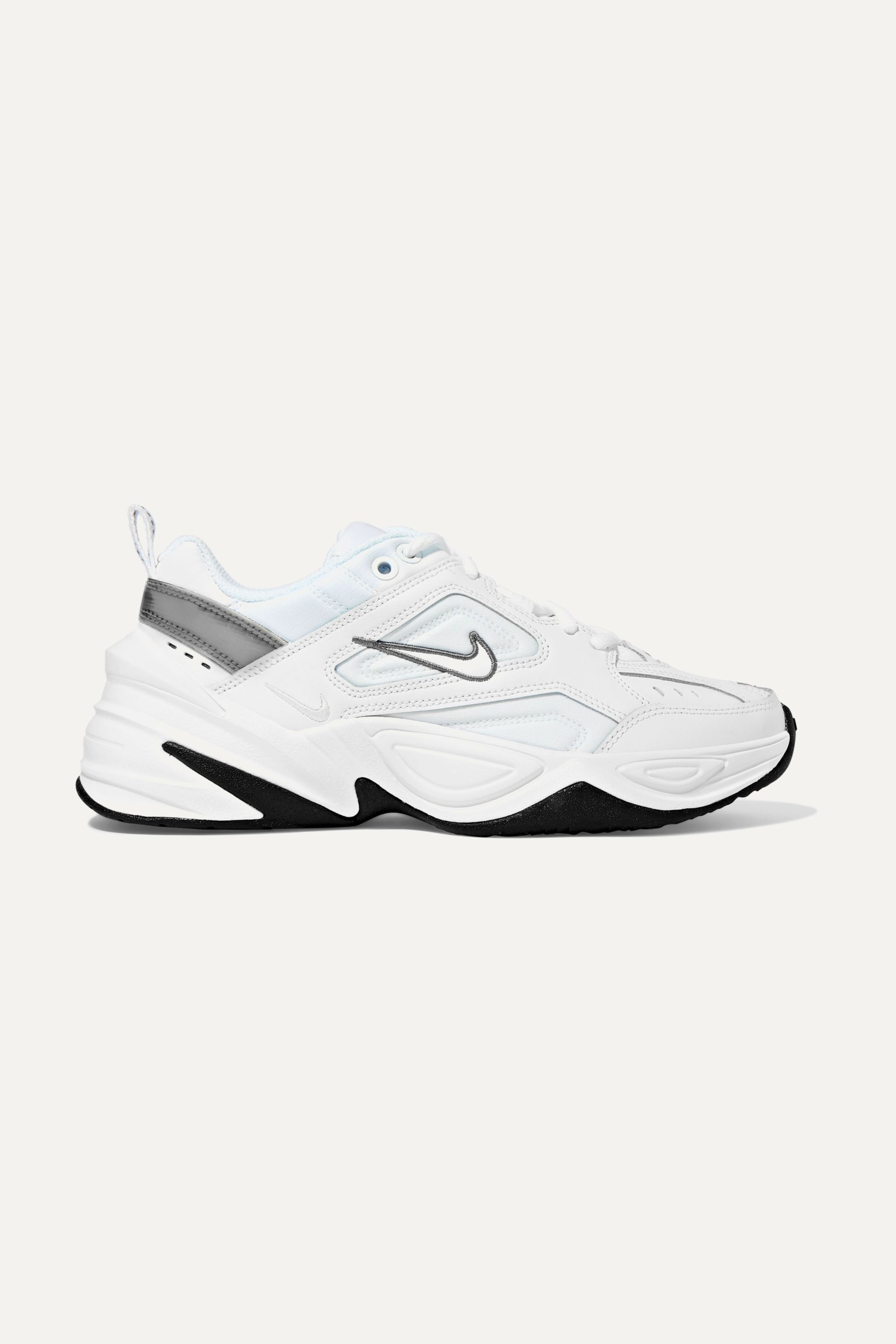 White M2k Tekno Leather And Mesh Sneakers Nike Net A Porter