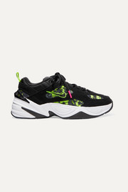 Nike M2K Tekno neon printed canvas, suede and leather sneakers