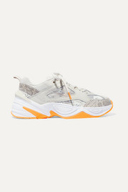 M2K Tekno leather and camouflage-print canvas sneakers
