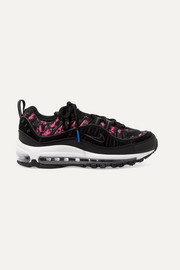 Nike Air Max 98 neon printed canvas, suede and leather sneakers