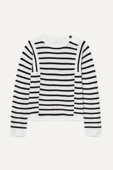 Vince Knits Striped ribbed wool and cashmere-blend sweater