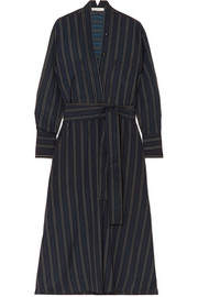 Belted striped crepe de chine midi dress