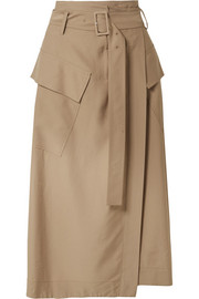 Belted twill wrap skirt