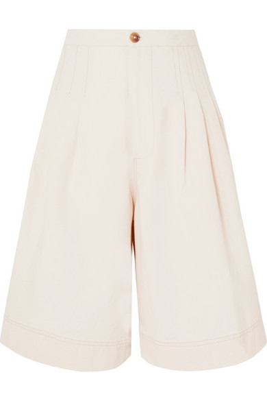 Pleated Cotton Canvas Shorts by Bassike