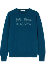 Lingua Franca Give Peace A Chance embroidered cashmere sweater