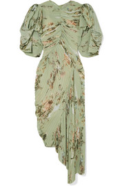 Draped pleated floral-print georgette dress