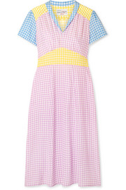 HVN Morgan gingham silk crepe de chine dress