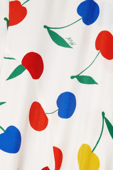 Hvn Dresses Long Maria printed silk crepe de chine dress