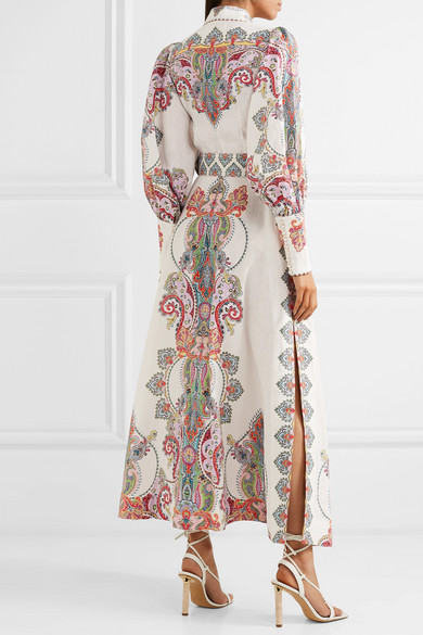 b3afc2802 Zimmermann. Ninety-Six belted printed linen maxi dress. $497.50. Reduced  further. Play