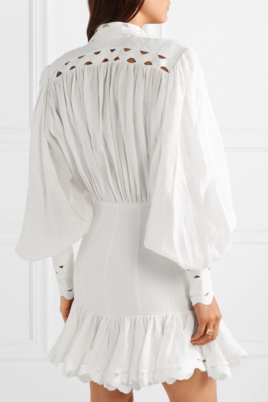 Zimmermann Ninety-Six Wave rickrack-trimmed ramie and linen mini dress