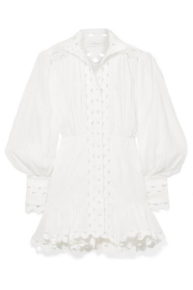 Zimmermann Dresses Ninety-Six Wave rickrack-trimmed ramie and linen mini dress