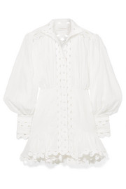 Zimmermann Ninety-Six Wave rickrack-trimmed ramie and linen mini dress