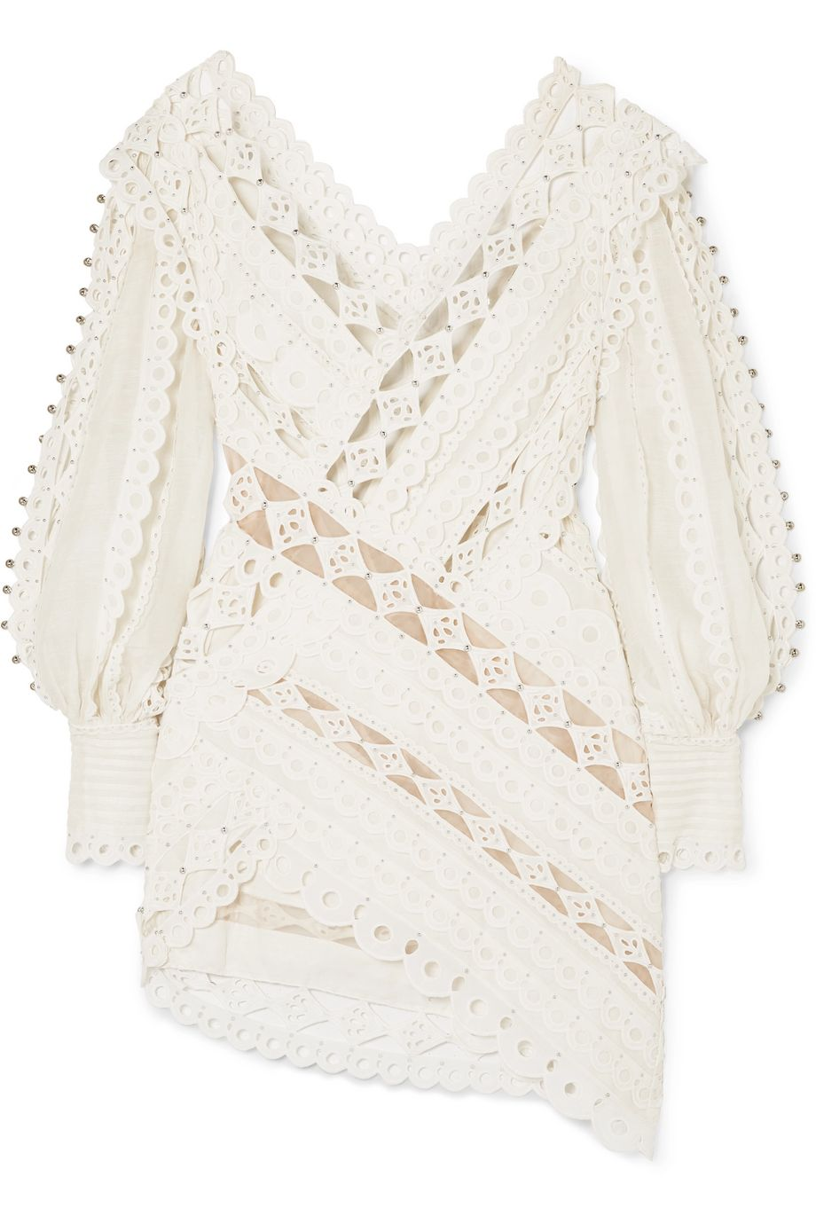 Zimmermann Moncur studded paneled broderie anglaise cotton mini dress