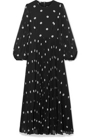 Zimmermann Sunray pleated polka-dot georgette maxi dress