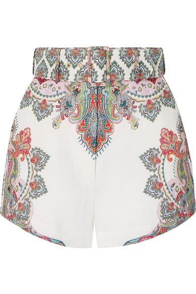 ZIMMERMANN | Zimmermann - Ninety-six Belted Printed Linen Shorts - White | Goxip