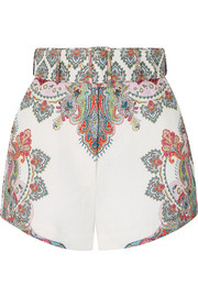 Ninety-Six belted printed linen shorts
