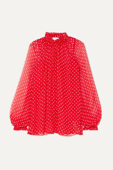 2f779103d2 Zimmermann Ninety-Six Swing Polka-Dot Silk-Georgette Blouse In Crimson Pearl