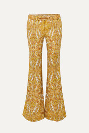 Zippy paisley-print linen flared pants