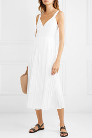Pleated crepe de chine jumpsuit