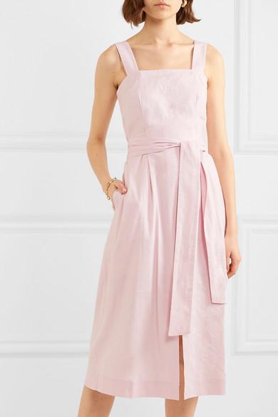 Vince Belted Linen Blend Midi Dress Net A Porter Com