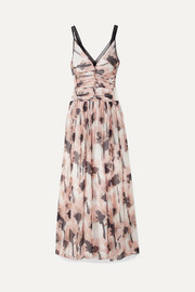 Tulle-trimmed floral-print silk-crepon maxi dress