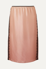 Lace-trimmed silk-charmeuse skirt