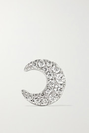 Moon 18-karat white gold diamond earring